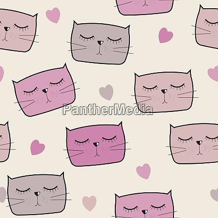 cute handdrawn cat seamless pattern vector