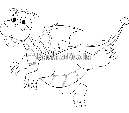 dragon contour sketch of a flying
