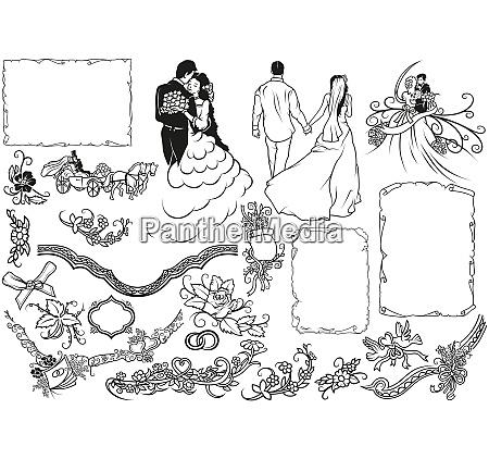 wedding design elements set