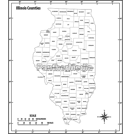 illinois state outline administrative and political