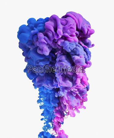 blaue und lila tinte auf weissem