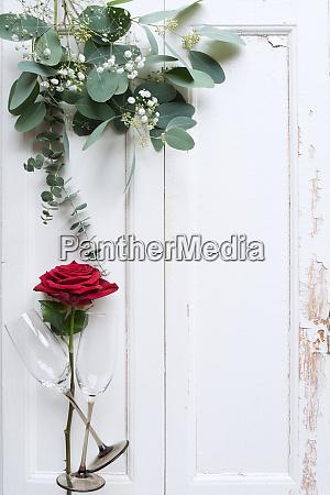 valentines day decoration on white wooden