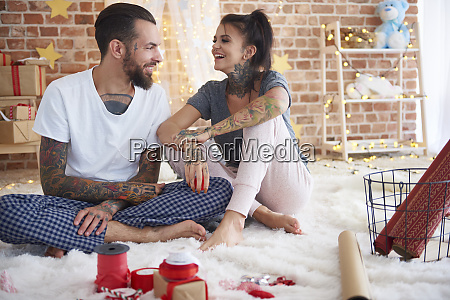 happy young couple at home at