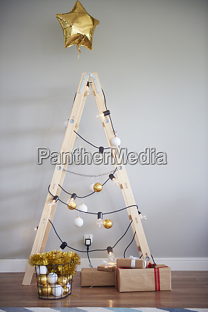 christmas tree made from ladder