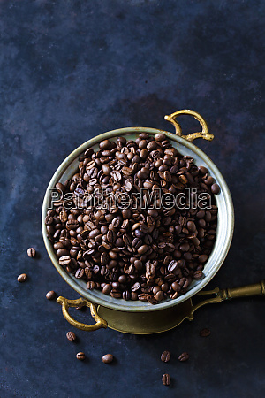 freshly roasted coffee beans in a