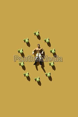 3d rendering starker mann mit gruener