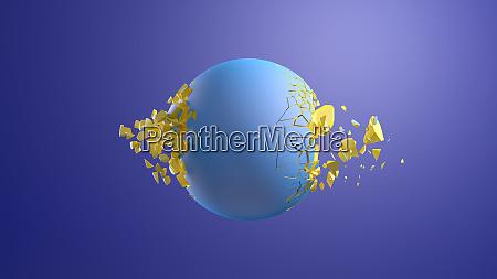 3d rendering blaue kugel platzt vor