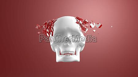 3d rendering skull bursting into pieces