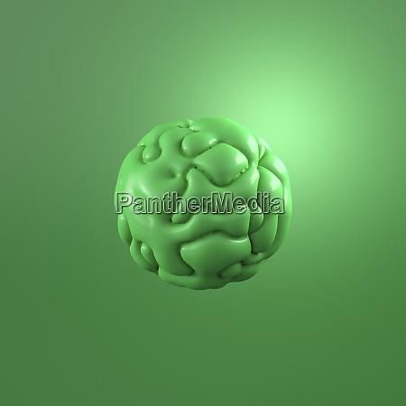 3d rendering green molecule against green