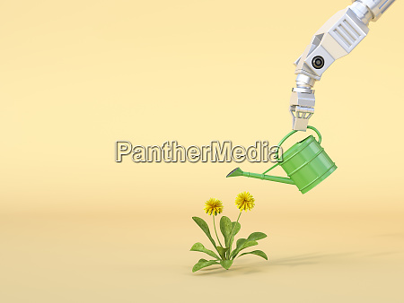 3d rendering robot claw watering flowers