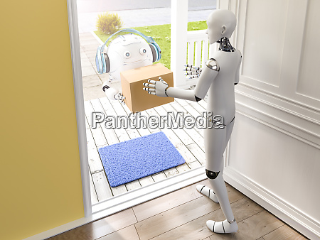 3d rendering little drone delivering parcel