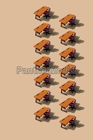 3d illustration row of desks