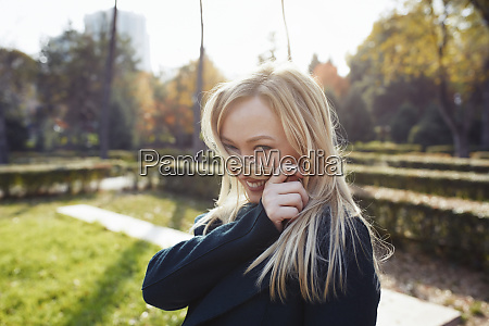 portrait of playful blond woman in