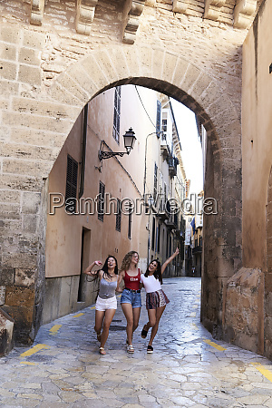 spain mallorca palma three happy young