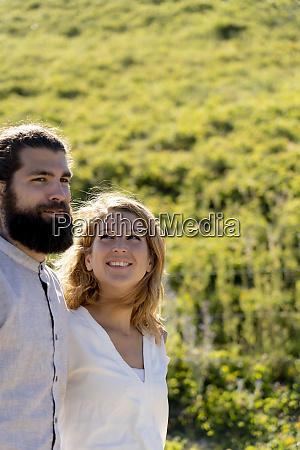 portrait of a happy couple spending