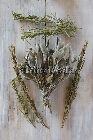 fresh and dried rosemary and sage