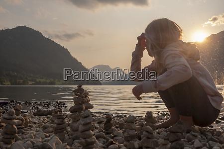 austria ausseer land girl building cairns