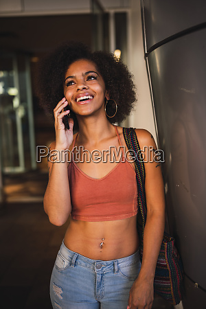 portrait of happy young woman on