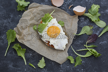 fried egg on slice of brown