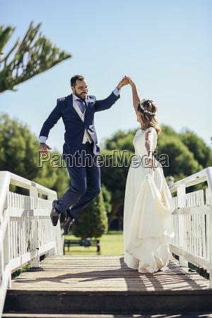 bridal couple enjoying their wedding day