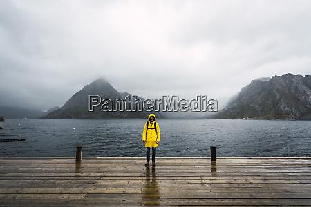 norway lofoten man standing on a