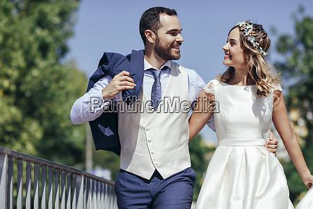 happy bridal couple enjoying their wedding