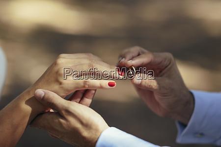 groom putting wedding ring on finger
