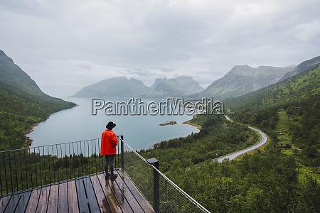 norway senja island rear view of