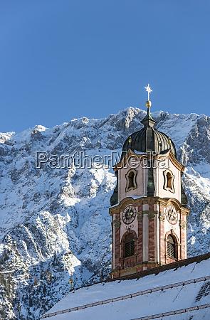deutschland, bayerische, alpen, bayern, oberbayern, werdenfelser, land, karwendelgebirge, mittenwald, kirche, st., peter, und - 26378520