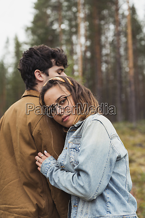 finland lapland young couple standing in