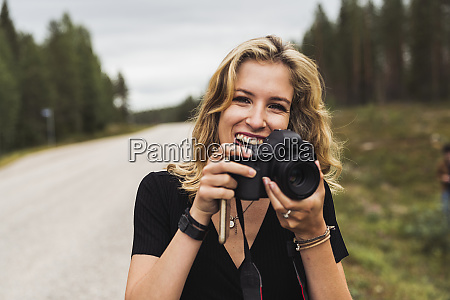 finland lapland portrait of happy young