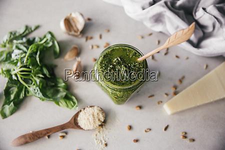 fresh pesto genovese in glass