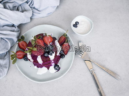 beetroot pancake with fresh berries and