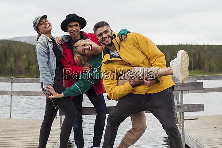 finland lapland portrait of happy playful