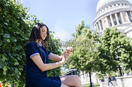 uk london young woman using her