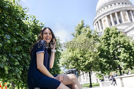 uk london laughing young woman talking
