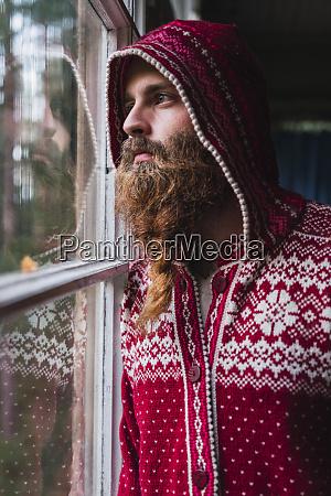 portrait of pensive man with beard