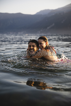 happy carefree young couple in a