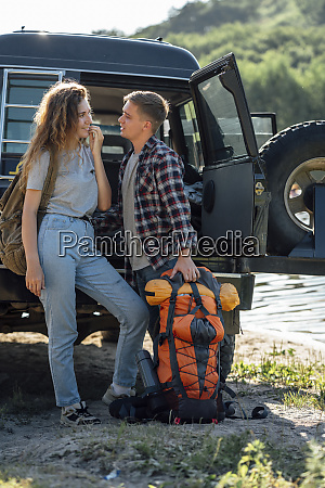 young couple doing an outdoor trip