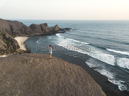 indonesia lombok young woman at coast