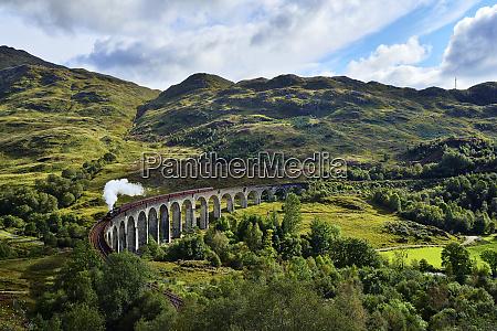 uk scotland highlands glenfinnan viaduct with