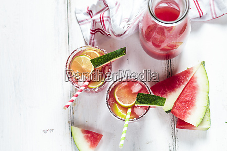 glasses of melon margarita with watermelon