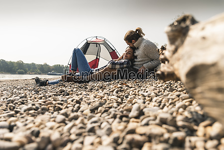 happy young couple relaxing at a