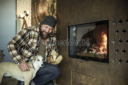 bearded man with his dog in
