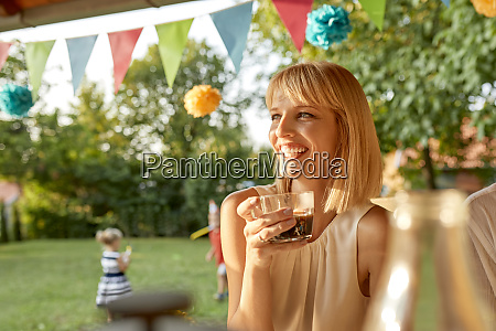 happy woman drinking coffee on a