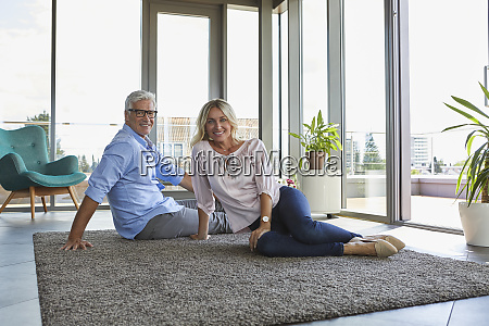 portrait of smiling mature couple relaxing