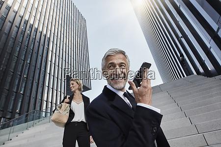 portrait of content businessman on the