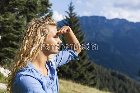germany bavaria oberammergau young woman on