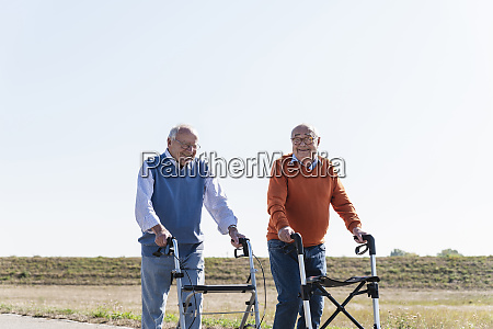two old friends walking on a