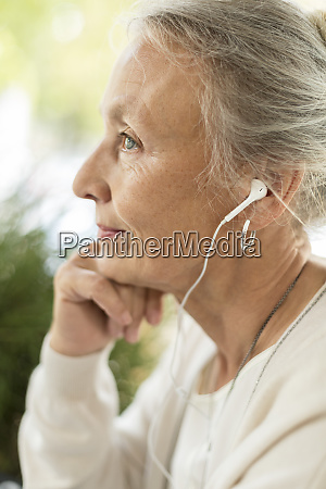 profile view of senior woman with